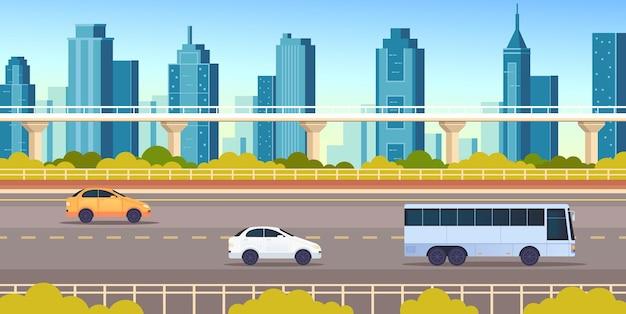 Concepto horizontal del transporte de la carretera de la ciudad de la ciudad
