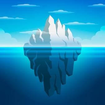 Concepto de iceberg por encima y por debajo