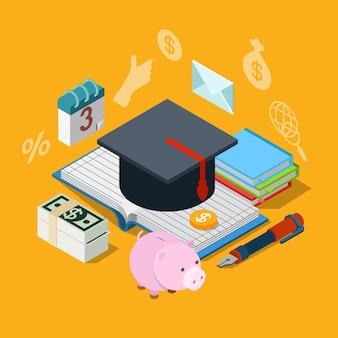 Concepto de icono de ahorro de préstamo de crédito de cuota de matrícula de conocimiento de educación isométrica plana