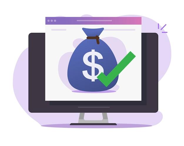 Concepto de icono digital en línea de transferencia de dinero aprobado