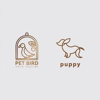 Concepto de icono logo animal con arte lineal