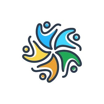 Concepto de icono de símbolo de logotipo de personas y unidad