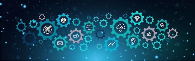 Concepto de icono de tecnología de información empresarial por un engranaje de rueda dentada y el vínculo de la tecnología en la luz de fondo azul