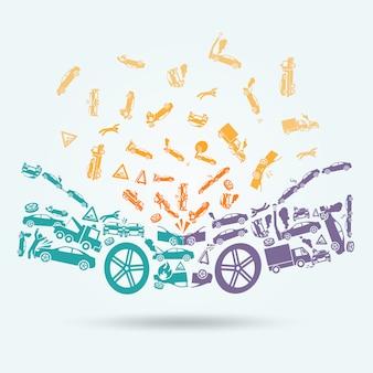 Concepto de iconos de accidente de coche