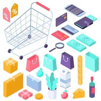 Concepto de iconos de interfaz isométrica de compras móviles en línea de diseño plano carrito de supermercado dinero billetera tarjetas de crédito cajas de regalos artículos de búsqueda de sitios web de comestibles etiquetas de descuento y venta