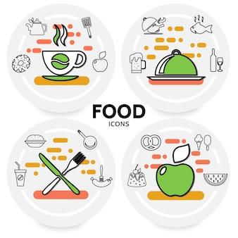 Concepto de iconos de línea de alimentos con café, cerveza, vino, pescado, pollo, manzana, soda, hamburguesa, salchicha, pretzel, pastel