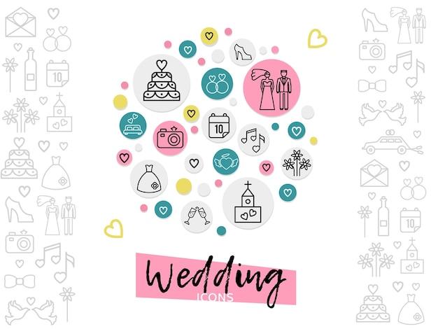 Concepto de iconos de línea de boda con anillos de zapatos de pastel de pareja fecha vestido de cámara de fuegos artificiales de iglesia