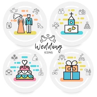 Concepto de iconos de línea de boda con novia novio zapato corazón iglesia cámara pastel anillos carta vestido de fuegos artificiales