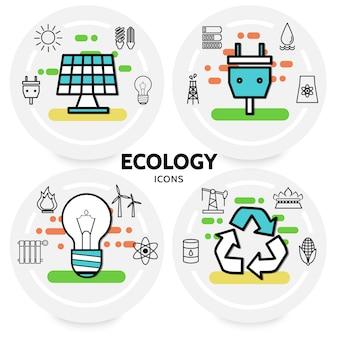 Concepto de iconos de línea de ecología con enchufe de panel solar, bombillas solares, radiador de batería de basura, aceite de molino de viento