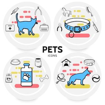 Concepto de iconos de línea de mascotas con collares de alimentación para gatos y perros portadores correa kit médico peine jeringa