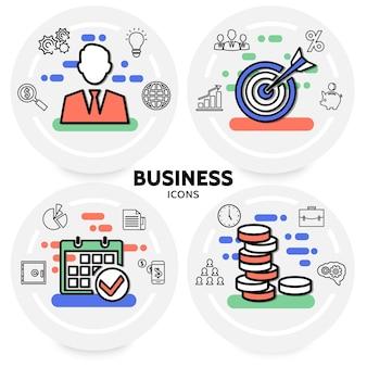 Concepto de iconos de línea de negocios con diagrama de documento de calendario seguro de bombilla de trabajo en equipo de empresario