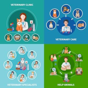 Concepto de iconos planos veterinarios