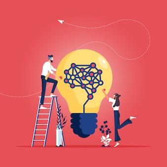 Concepto de idea para el análisis del trabajo en equipo empresarial y el concepto de idea creativa de brainstorm-business