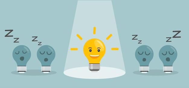 Concepto de idea brillante con bombilla