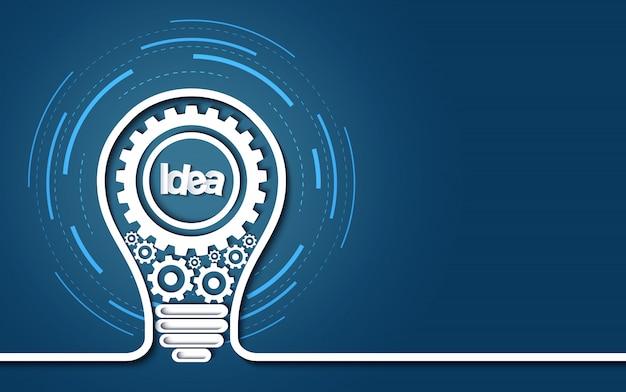 Concepto de idea creativa icono de engranaje de bombilla sobre fondo azul.