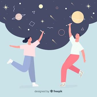 Concepto idea diseño gráfico pareja