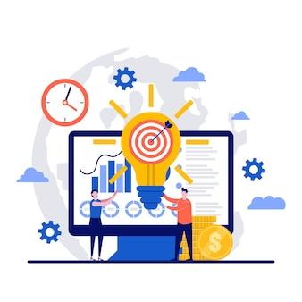 Concepto de idea innovadora con carácter. soluciones comerciales y desarrollo de start-ups.