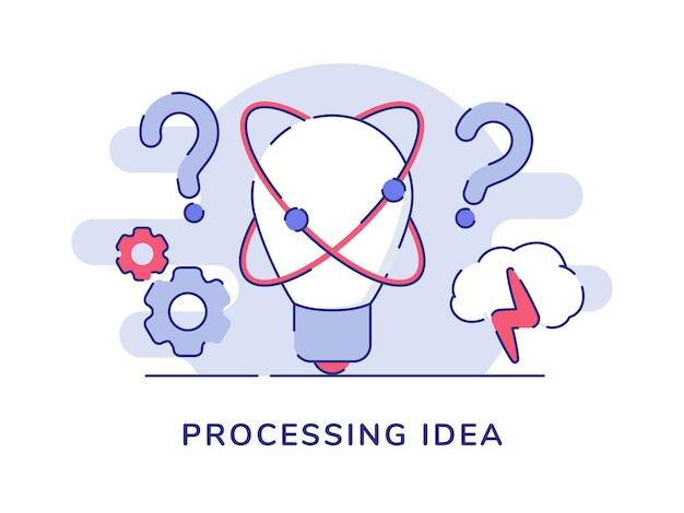 Concepto de idea de lluvia de ideas con bombilla y signo de interrogación