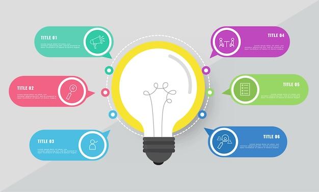 Concepto de idea de negocio con coloridos iconos de seis opciones