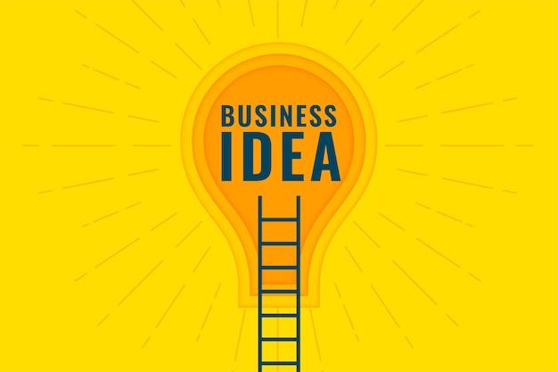 Concepto de idea de negocio con escalera y bombilla