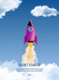 Concepto de idea de negocio de inicio. cohete espacial