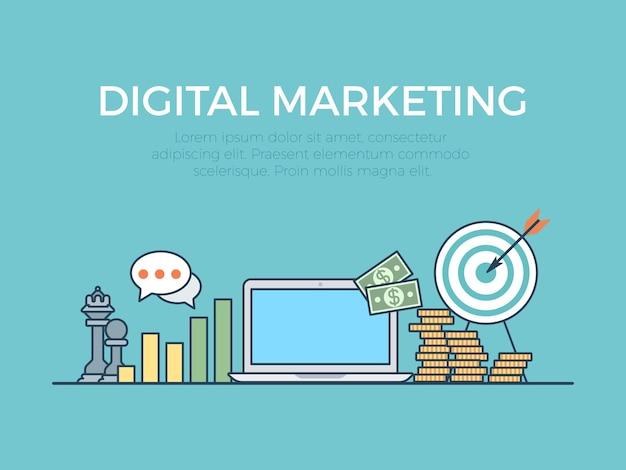 Concepto de ideas de inicio de marketing digital banner deslizante de sitio web lineal de estilo plano infografía de vector web