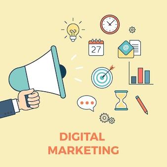Concepto de ideas de inicio de marketing digital de sitio web lineal de estilo plano iconos de infografía web