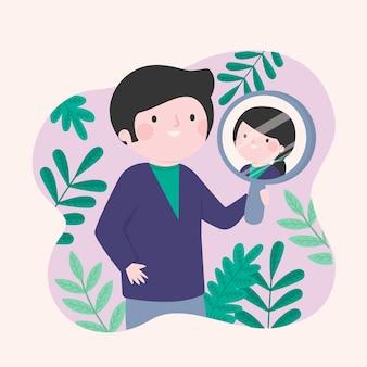 Concepto de identidad de género con espejo