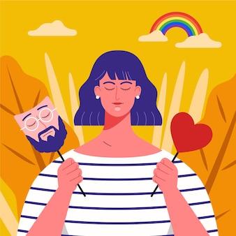 Concepto de identidad de género con hombre y mujer