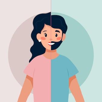 Concepto de identidad de género ilustrado