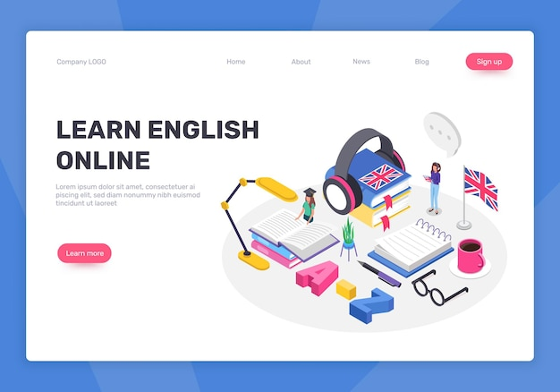 Concepto de idioma inglés de aprendizaje isométrico página web de educación en línea de cursos digitales
