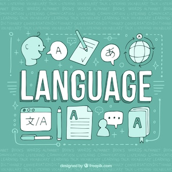 Concepto de idiomas dibujado a mano