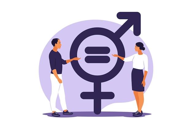 Concepto de igualdad de género. carácter de hombres y mujeres en la balanza por la igualdad de género. ilustración vectorial. departamento.