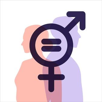 Concepto de igualdad de género. carácter de hombres y mujeres en la balanza por la igualdad de género. siluetas de un hombre y una mujer. el signo de género. ilustración vectorial. departamento.