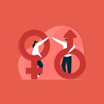 Concepto de igualdad de género, concepto de sexualidad con icono masculino y femenino, derechos de las mujeres