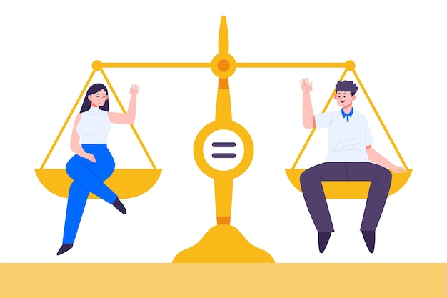 Concepto de igualdad de género con escala.