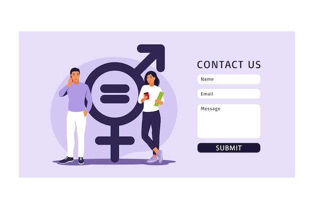 Concepto de igualdad de género. formulario de contacto para web. carácter de hombres y mujeres en la balanza por la igualdad de género. ilustración vectorial. departamento.
