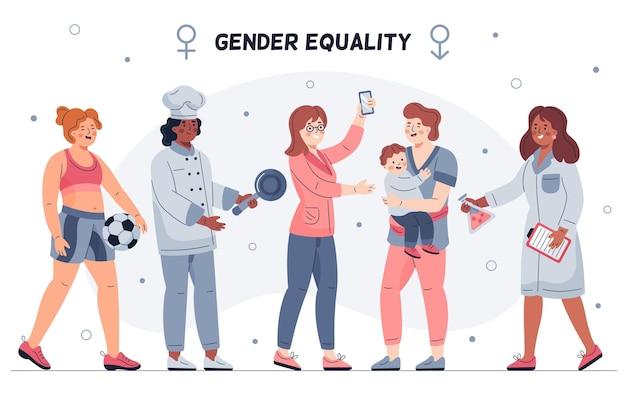 Concepto de igualdad de género ilustrado