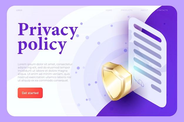 Concepto de illsutration de política de privacidad, contrato 3d con signo y escudo 3d, concepto de protección. aplicación web isométrica 3d. plantilla de página web de aterrizaje