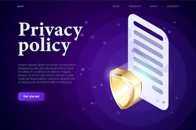 Concepto de illsutration de política de privacidad, contrato 3d con signo y escudo 3d, concepto de protección. aplicación web isométrica 3d. plantilla de página web de aterrizaje,