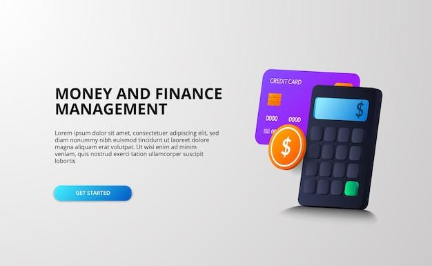 Concepto de ilustración 3d de gestión de dinero y finanzas con cálculo, análisis, impuestos, ingresos, ahorro