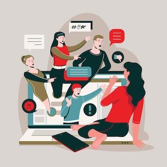 Concepto de ilustración de acoso cibernético