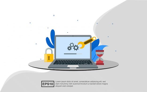 Concepto de ilustración de actualizar el sistema para que sea más seguro y más nuevo.