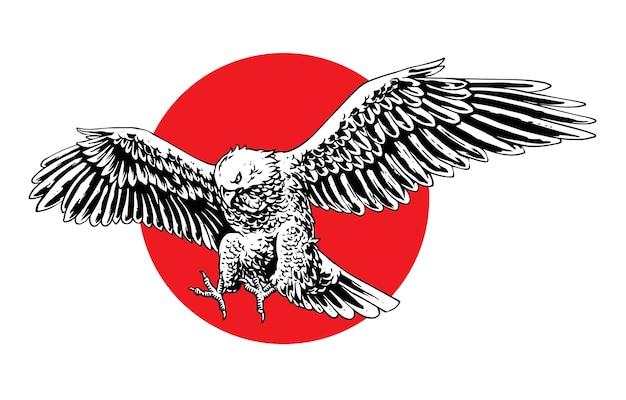 Concepto de ilustración de águila volando