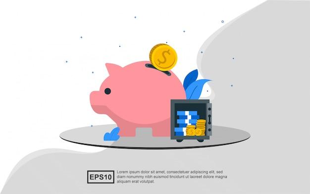 Concepto de ilustración de ahorrar dinero en una alcancía y una caja fuerte