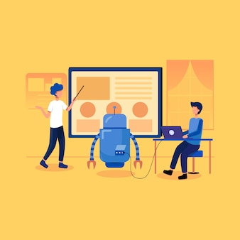Concepto de ilustración de ai de machine learning