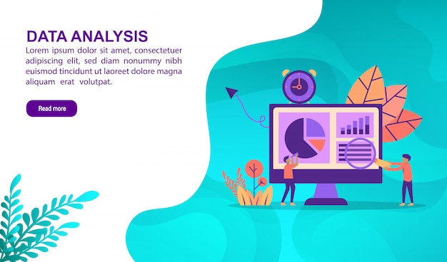 Concepto de ilustración de análisis de datos con carácter. plantilla de página de aterrizaje
