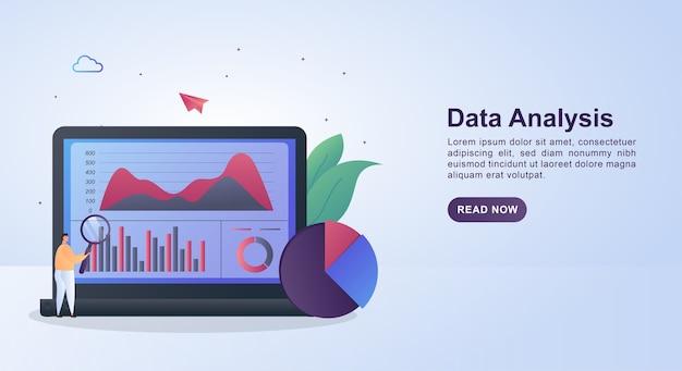 Concepto de ilustración de análisis de datos con la persona que sostiene la lupa.