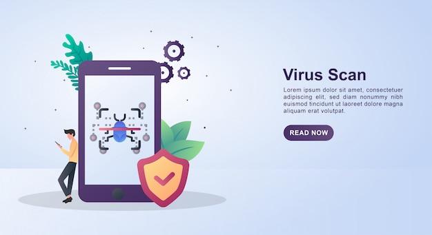 Concepto de ilustración del análisis de virus para que el teléfono esté protegido contra virus.