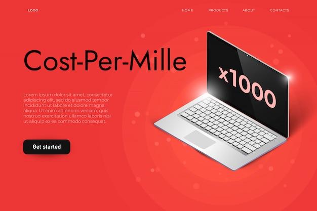 Concepto de ilustración de anuncio de costo por mille con laptop isométrica realista. concepto de visualización de miles de contenidos. plantilla de página de aterrizaje.